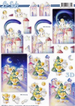 Christmas Angels Around The Tree Die Cut 3d Decoupage Sheet